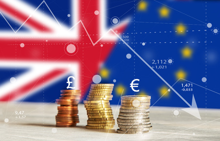Abstract Brexit charts of graph with Coins, Currency, United Kingdom and European Union Flags, Arrow Down Background