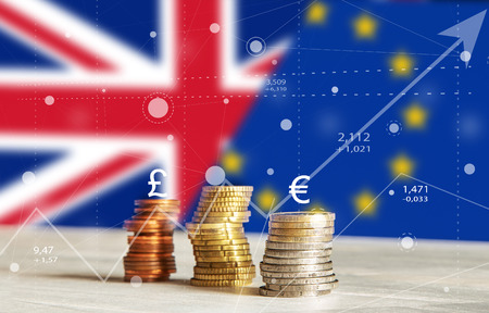 Abstract Brexit charts of graph with Coins, Currency, United Kingdom and European Union Flags Background