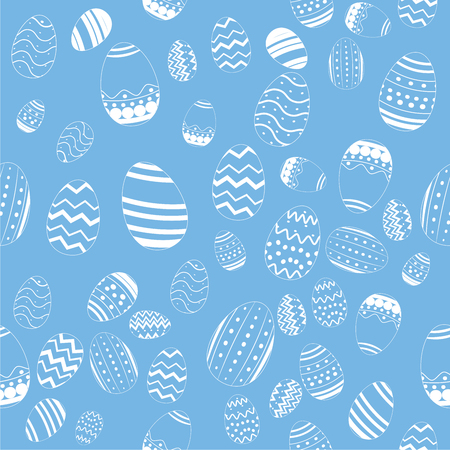 Decorative Draw Easter Eggs Seamless Pattern Vector on Blue Background