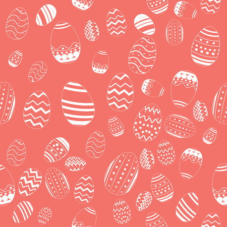 Decorative Draw Easter Eggs Seamless Pattern Vector on Living Coral Color Background