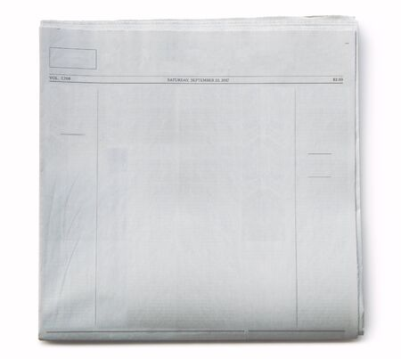 Front Page of Blank Newspaper on White Background