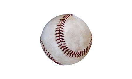 Dirty Baseball on White Background Banque d'images
