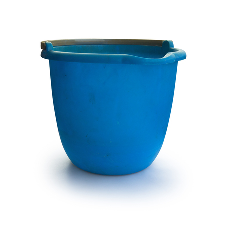 Dirty Blue Bucket Isolated on White Background