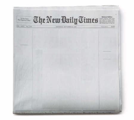 Fake Newspaper Front Page Blank with Title Banque d'images