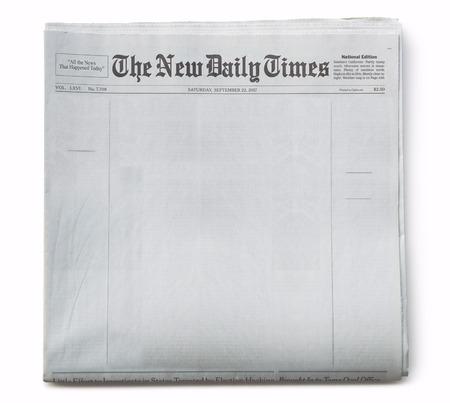 Faux journal de première page vierge avec titre Banque d'images