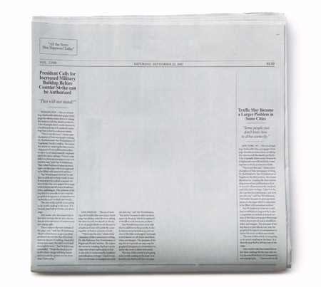 Fake Newspaper Front Page Partially Blank with Fake Articles Banco de Imagens