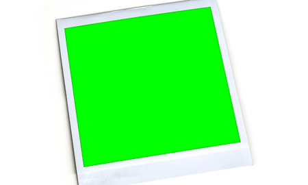Blank Chroma Key Green Picture Frame on White Background 1