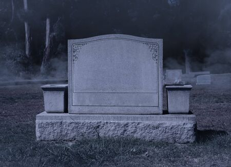 Blank Spooky Halloween Grave Stone at Night Archivio Fotografico