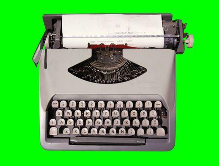 Old Typewriter 1 Isolated on Chroma Key Green Background