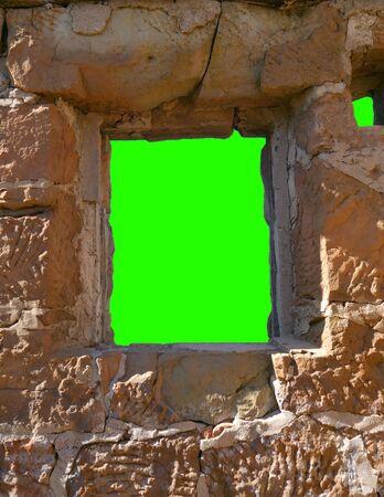 Stone Window Chroma Key Green Center Archivio Fotografico