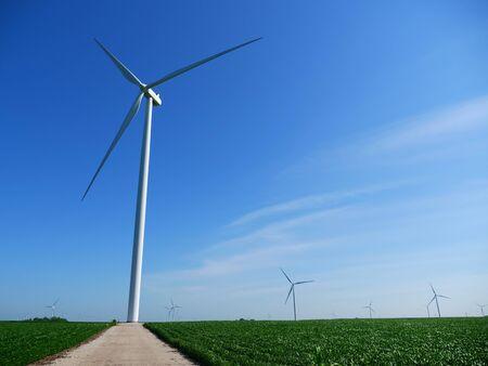 Wind Turbines in a Green Farm Field Archivio Fotografico