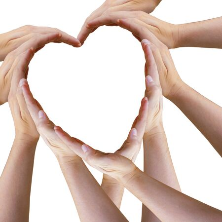 Heart Made Out of Many Hands Tilted Archivio Fotografico