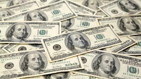 Wide Full Screen Money Pile of 100 Dollar Bills Archivio Fotografico