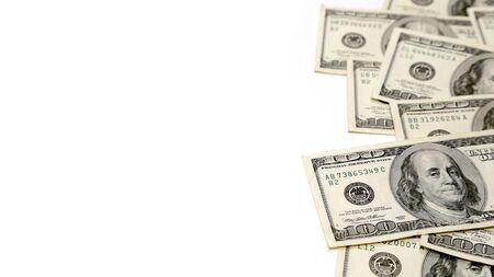 Money Pile of 100 Dollar Bills on Right, Blank on Left