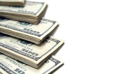 Money Stacks of One Hundred Dollar Bills on White Background Archivio Fotografico