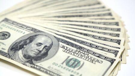 Money One Hundred Dollar Bills Fanned Archivio Fotografico