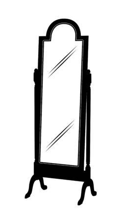 Black and White Mirror Cartoon Graphic Archivio Fotografico