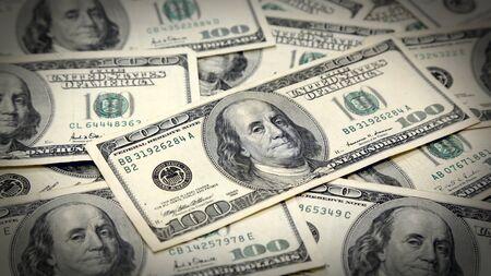 Full Screen Money Pile of 100 Dollar Bills with Vignette Archivio Fotografico