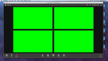 Generic Video Conferencing Interface with Four Green Screen Frames for Compositing over Video