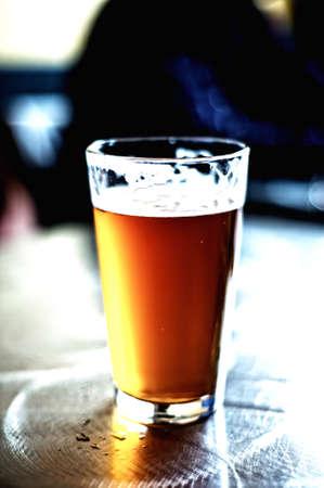 Dark Golden Pint of Beer photo