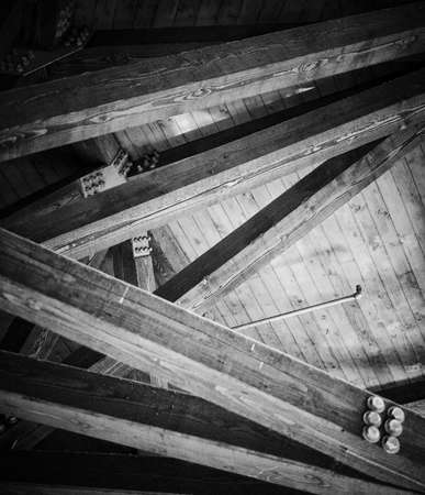Wooden Ceiling Beams in Black and white Banco de Imagens