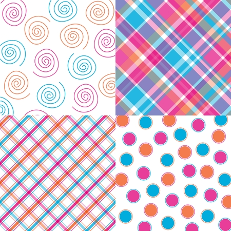 Four orange, pink and aqua patterns