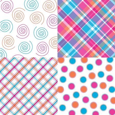 plaid patterns: Four orange, pink and aqua patterns