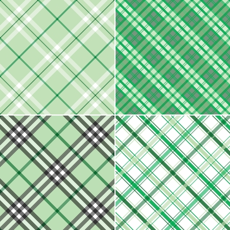 Four different green plaid patterns to be used as a background