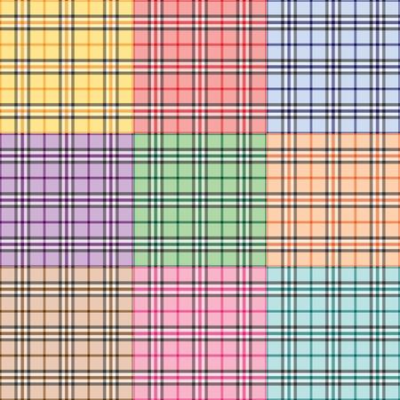 別の色で 9 つの格子縞パターン  イラスト・ベクター素材