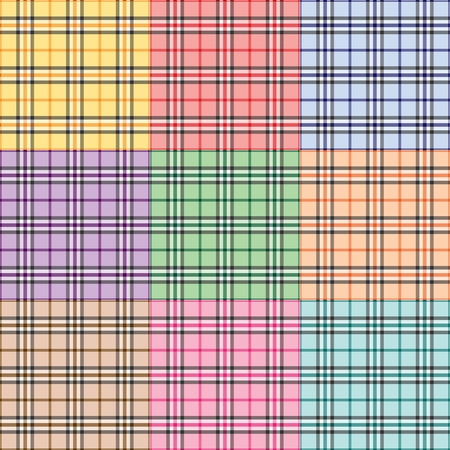 Nine plaid patterns in different colors