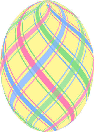 Yellow Easter egg with pastel blue, pink and green stripes 版權商用圖片