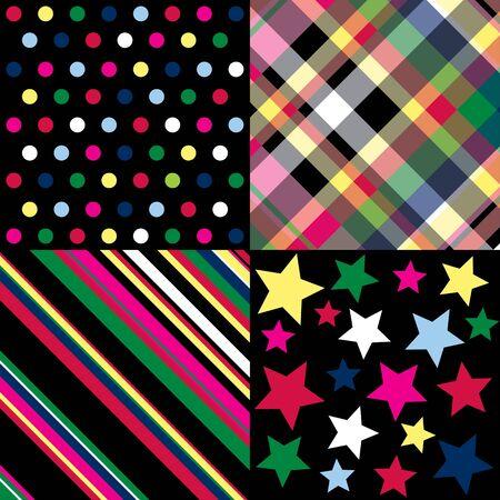 red polka dots: Cuatro patrones de colores brillantes sobre fondo negro  Foto de archivo