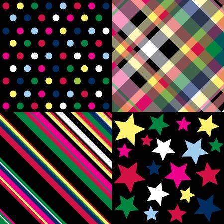 Four brightly colored patterns on a black background