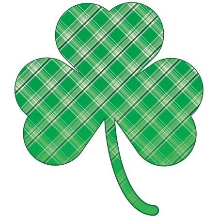 clovers: Illustration of shamrock with bright green plaid shamrock Stock Photo