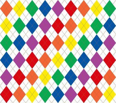 明るい虹色のアーガイル柄のイラスト 写真素材