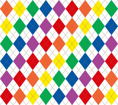 Illustration of bright rainbow colored argyle pattern Stock Photo