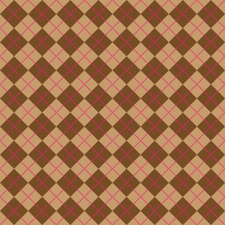 Background illustration of light and dark brown argyle with lines of bright pink dots