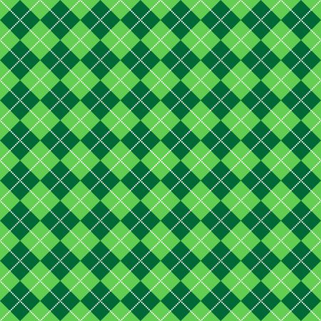 Background illustration of light and dark green argyle with lines of bright white dots