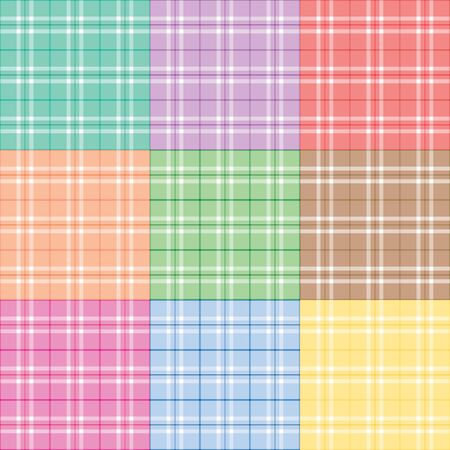 Plaid patterns in nine different pastel colors photo