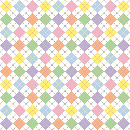 Illustration of pastel rainbow colored argyle pattern illustration