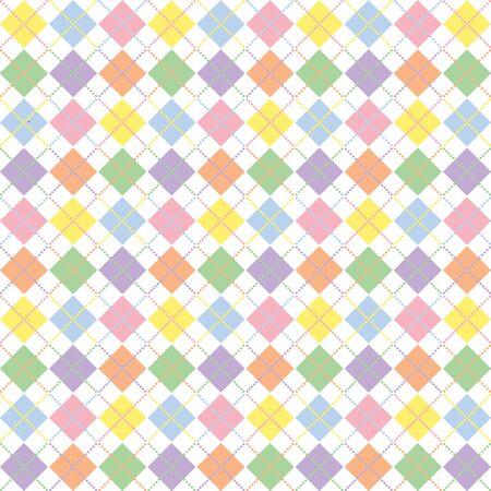Illustration of pastel rainbow colored argyle pattern illustration
