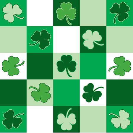 Green and white checkered background pattern with shamrocks Stock Photo - 2630107