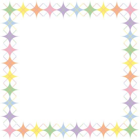 Border of pastel rainbow colored argyle stars pattern with space for text photo
