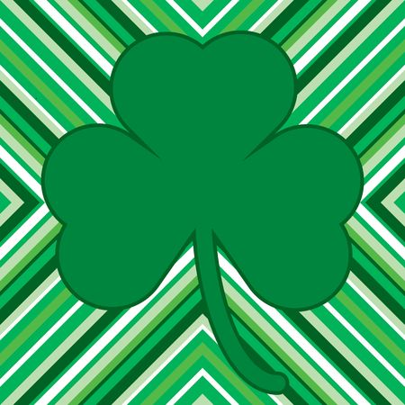 Green and white pattern for St. Patrick's Day card with shamrock Stock Photo - 2630113