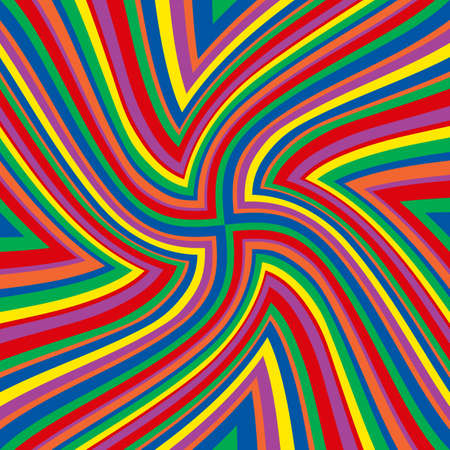 Illustration of bright rainbow colored lines in a swirl pattern