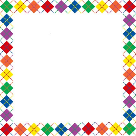 Border of bright rainbow colored argyle pattern with space for text 스톡 콘텐츠