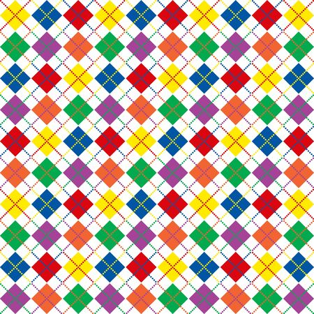 Border of bright rainbow colored argyle pattern with space for text Imagens