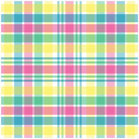 Illustration of pink,green,blue and yellow pastel plaid illustration