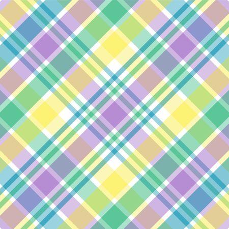 青、緑、紫色および黄色の格子縞の図 写真素材