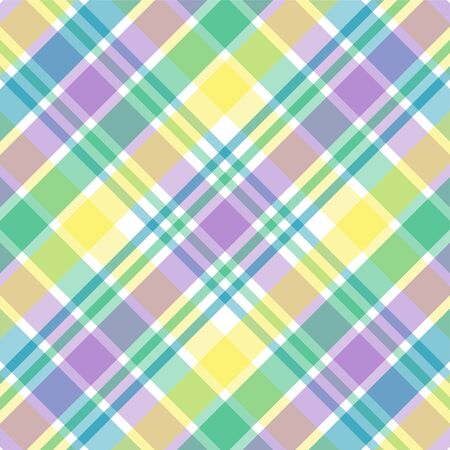 Illustration of blue, green, purple and yellow plaid Stock Photo